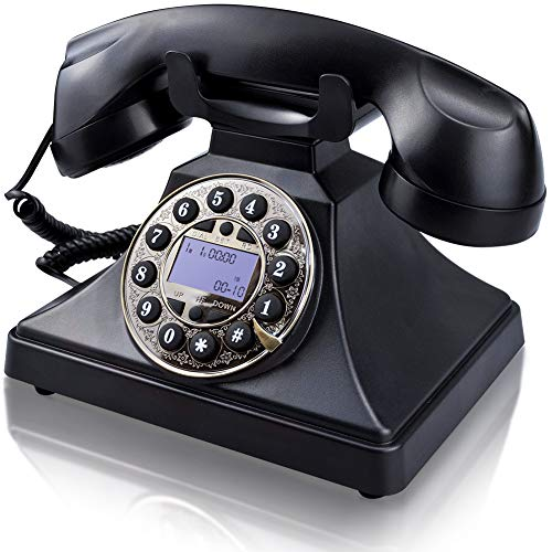 Corded Retro Landline Phone for Home, IRISVO Vintage Classic Desk Telephone with LCD Screen Display and Redial,Speaker, Push Button Dialing with Rotary Design (Black)