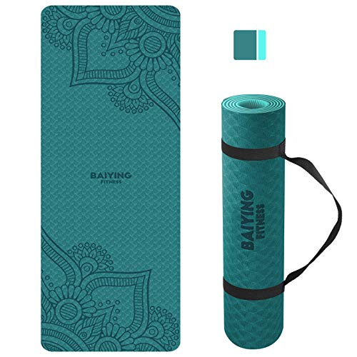 BAIYING Yogamatte, TPE Gymnastikmatte rutschfest Fitnessmatte für Workout Umweltfreundlich Übungsmatte Sportmatte für Yoga, Pilates Heimtraining, 183 x 61 x 0.6CM (Greyblack)