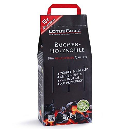 LotusGrill 2X Buchenholzkohle 2,5 kg Sack inkl Brennpaste 200 ml,beides entwickelt für raucharmes Grillen