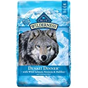 Blue Buffalo Wilderness High Protein Grain Free, Natural Adult Dry Dog Food Denali Dinner  With Wild Salmon, Venison & Halibut 22Lbs
