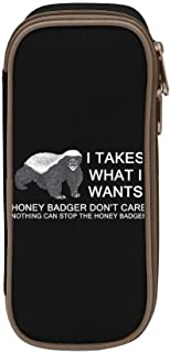 FTIAL I Takes What I Wants - Honey Badger Big Capacity Pencil Case Double Zipper Large Storage Space Mulit-Function Stationary Portable Makeup Bag