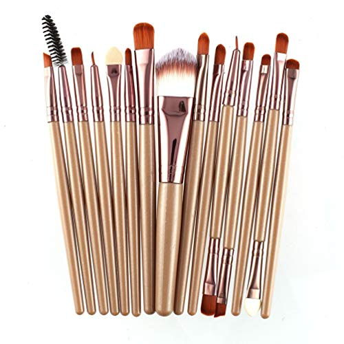 ForceSthrength 15pcs / kit pinceaux de Maquillage mis Pinceau de Maquillage cosmétique Outil de beauté Cheveux synthétiques café