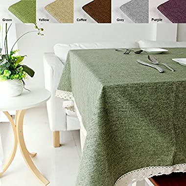 ColorBird Solid Cotton Linen Tablecloth Waterproof Macrame Lace Table Cover for Kitchen Dinning Tabletop Decoration (Rectangle/Oblong, 55 70 , Sage Green)
