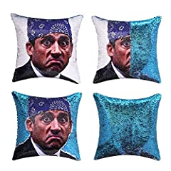 ❤Size:16x16 inch/40x40cm, only pillow cover (no insert) ❤Pillowcase Front:Printed The Office prison Mike photo , mermaid reversible sequin pillowcase.Run your fingers across the sequin,you can get a pure color sequin.suitable any room for that matter...