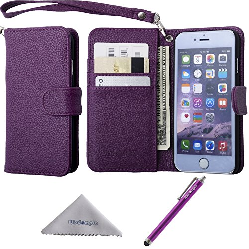 iPhone 6 Plus Case, iPhone 6s Plus Case, Wisdompro Premium PU Leather 2-in-1 Protective Folio Flip Wallet Case with Credit Card Holder Slots and Wrist Lanyard for Apple iPhone 6 Plus 6s Plus-Purple