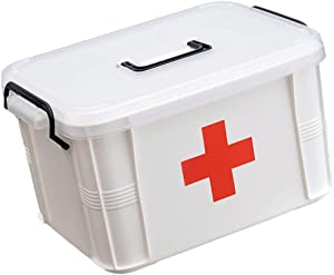 Cabilock First Aid Portable Medical Box Plastic Handled Basic Pill Organizer Holder for Family Safety Emergency Storage Travel Car Home Camping Office 33. 5 x 24 x 18cm
