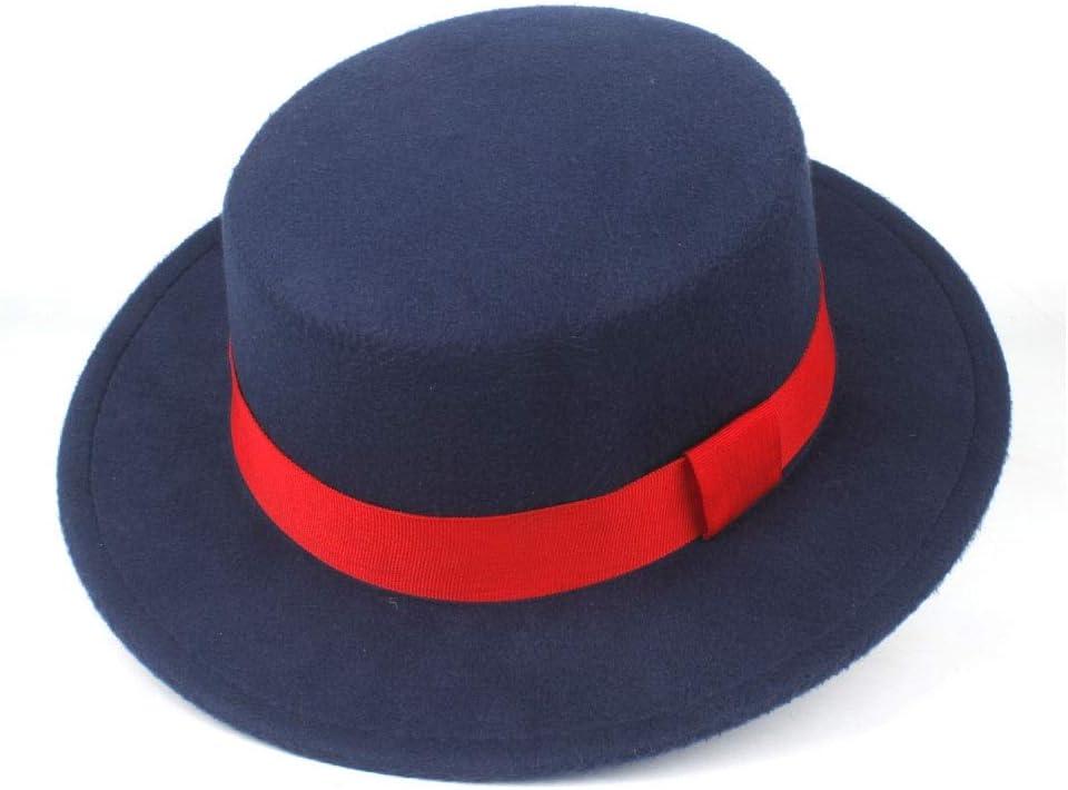 LIRRUI Men Women Flat Top Fedora Hat with Red Ribbon Wool Trilby Jazz Hat Church Retro Wide Brim Hat Size 56-58CM (Color : Dark Blue, Size : 56-58)