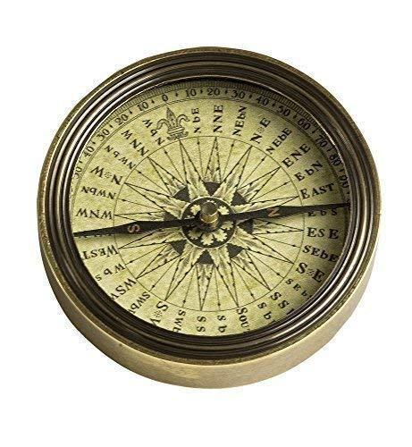 Linoows antieke barokke tafel kompas, kompas messing gepatineerd