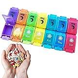 Hengqiyuan Organizador de Pastillas semanales, Caja de Almacenamiento de Medicina portátil, Organizador de Pastillas semanales 7 días 2 Veces al día, para tabletas/Productos de Salud/vitaminas,Color