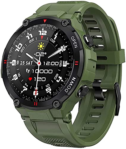 Reloj inteligente resistente al agua, reloj deportivo, seguimiento de actividad al aire libre, con monitor de ritmo cardíaco, podómetro y cálculo de distancia, rastreador de fitness, verde militar