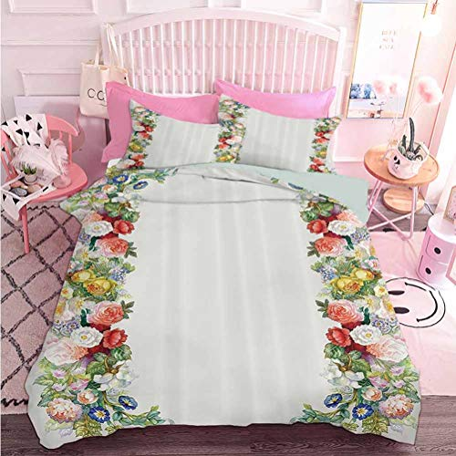 Hiiiman Home Textiles Bedding Set Bedclothes Rose Garland in Pastel Tones Jasmine Cornflower Bouquet Classic Bloom Graphic (3pcs, California King Size) Duvet Cover Set