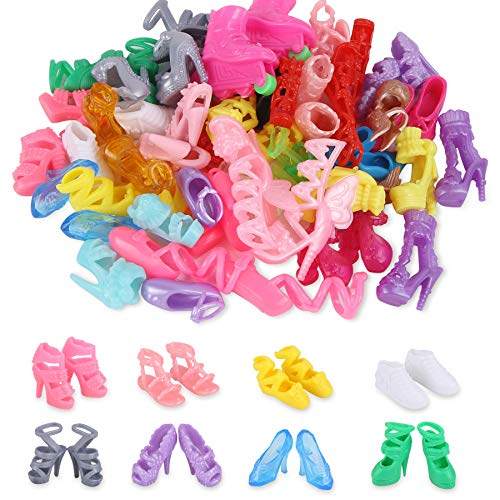 JANYUN 30 Pairs Doll Shoes Various Styles Replacement High Heel Boot Bulk for 12