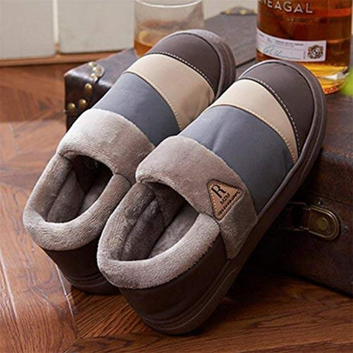 FuweiEncore Winter Men Slippers Nubuck leather Fluff Lined House Cotton shoes, 42 (color   -, Size   -)
