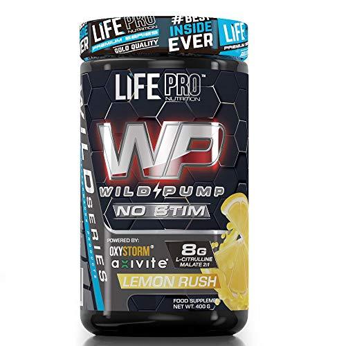 Life Pro Wild Pump Non Stimulant 400g | Suplemento Deportivo Pre Workout en Polvo | Sin estimulantes | Fabricado en España (LEMON RUSH)