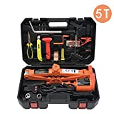 5T (11023lb) Electric Scissors Floor Jack Set for Car Lifting Range 120-450mm(4.72-17.7 in) with Portable Car Repair Tool Kit for Car and Tire Replacing (ATESJ-5045LWZ-T)