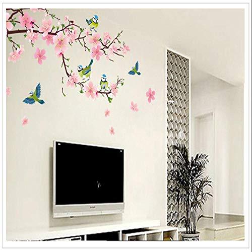 3D Wandaufkleber Wandbild Diy Zimmer Wanddeko Romantische Pfirsichblüte Und Schwalbe Abnehmbare Raumgröße: 60 X 90 Cm (24 X 36 Zoll) Lyjzlylyq