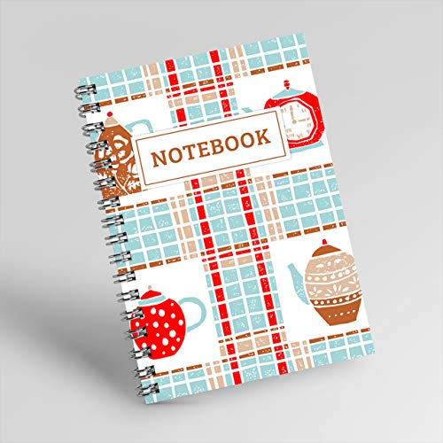 NOTEBOOK NO.40: NOTEBOOK FOR HEALTHY MEAL PLAN WEEKLY.HAS CROSS SHAPE COVER WITH MANY STRIKING COLORS AND TEAPOT, WATCHES MOTIFS|SIZE 6X9 INCHES, 200 PAGES HANDY|