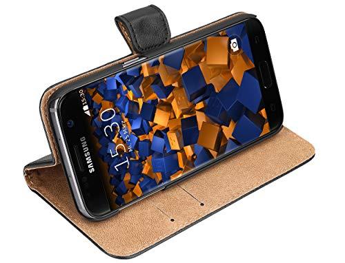 mumbi Echt Leder Bookstyle Case kompatibel mit Samsung Galaxy S7 Hülle Leder Tasche Case Wallet, schwarz