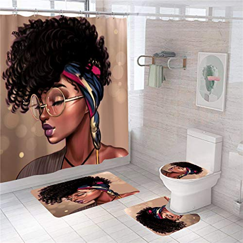 Cortina de ducha de niña negra conjunto de baño Cool Girl cortina de ducha 4 piezas afroafricana mujer señora impermeable poliéster cortina de ducha