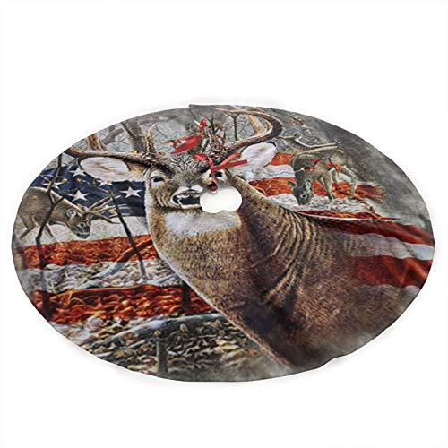 antcreptson Americana Flag Deer Christmas Tree Skirt Xmas New Year Holiday Decorations Indoor Outdoor 36 Inch