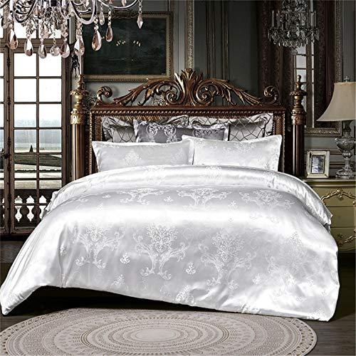 Precioso juego de cama de satén jacquard con funda de edredón y almohada de seda jacquard de lujo, para decoración de dormitorio (blanco, 220 x 240)