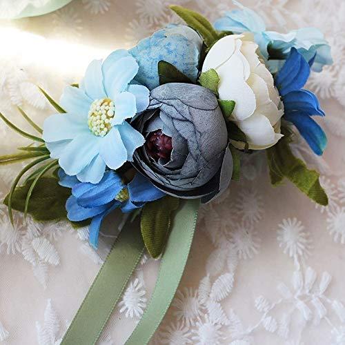 TSP Pulsera de seda artificial hecha a mano para boda, ramo de flores de flores para boda, ramo de flores para eventos de novia, pulsera de boda (color: flor de muñeca)