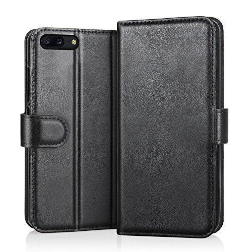 RIFFUE OnePlus 5 Hülle, Echtes Leder Tasche Schutzhülle Flip Case Wallet für OnePlus 5 Cover - Schwarz