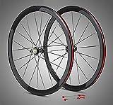 Juego Ruedas Bicicleta 700C Bicicleta Carretera Llanta Doble Pared Aleación 8-11 Velocidad Hub Fibra Carbono Liberación Rápida