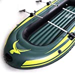 Yocalo inflatable boat series,raft inflatable kayak, fishing boat kayak,2,3,4 person boat with aluminum oars, cushion… 8 ❀ dimension: length 106. 3', width 55. 1 ' and height 17. 7',weight 22lb,age grading:6+ ❀ safety & environmental protection--constructed with super durable 0. 6mm pvc environment-friendly materials, the boat is comfortable and durable. ❀ 4 independent air chambers with valves; boston valve, motor mount fittings buckle. Included cushion, rope,aluminum oars,repair patch and hand pump.