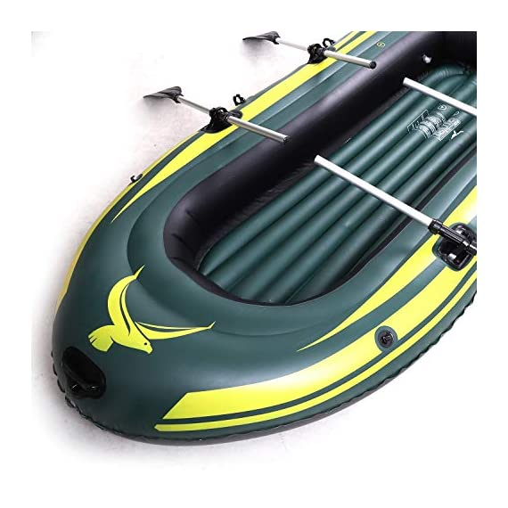 Yocalo inflatable boat series,raft inflatable kayak, fishing boat kayak,2,3,4 person boat with aluminum oars, cushion… 2 ❀ dimension: length 106. 3', width 55. 1 ' and height 17. 7',weight 22lb,age grading:6+ ❀ safety & environmental protection--constructed with super durable 0. 6mm pvc environment-friendly materials, the boat is comfortable and durable. ❀ 4 independent air chambers with valves; boston valve, motor mount fittings buckle. Included cushion, rope,aluminum oars,repair patch and hand pump.