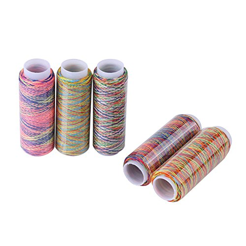 HEEPDD 5pcs Sewing Thread Set, Multicolor Gradient Sewing Quilting Embroidery Thread Spools Iridescent Hand Machine Sewing String Spool Clothing Garment DIY Accessories