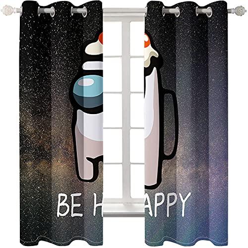 Cortinas De Impresión De Dibujos Animados Simples Y Modernas Cortinas Flotantes Perforadas Fáciles De Instalar Que Aíslan El Calor Adecuadas para El Dormitorio El Balcón La Sala De Estar