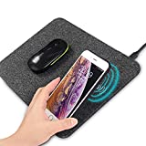 AmyZone Fast Wireless Charging Mouse Pad 10w Qi Certified Fabric Case-Friendly Large Wireless Charger Gaming Mouse Mat for iPhone 12/12 Pro/Xs/X/8/11 Samsung S10 Note 10 Google Pixel 4/3 XL for Gift