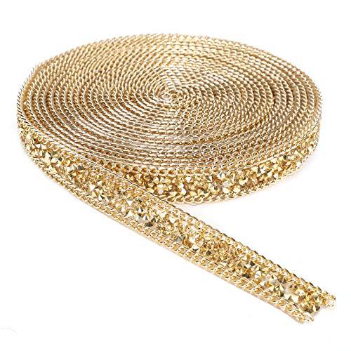 5 yardas de cristal de diamantes de imitación cierre de cadena de recorte cadena de garra joyería artesanías DIY malla de cristal rollo de envoltura de plástico decoraciones artesanales 1,5 cm