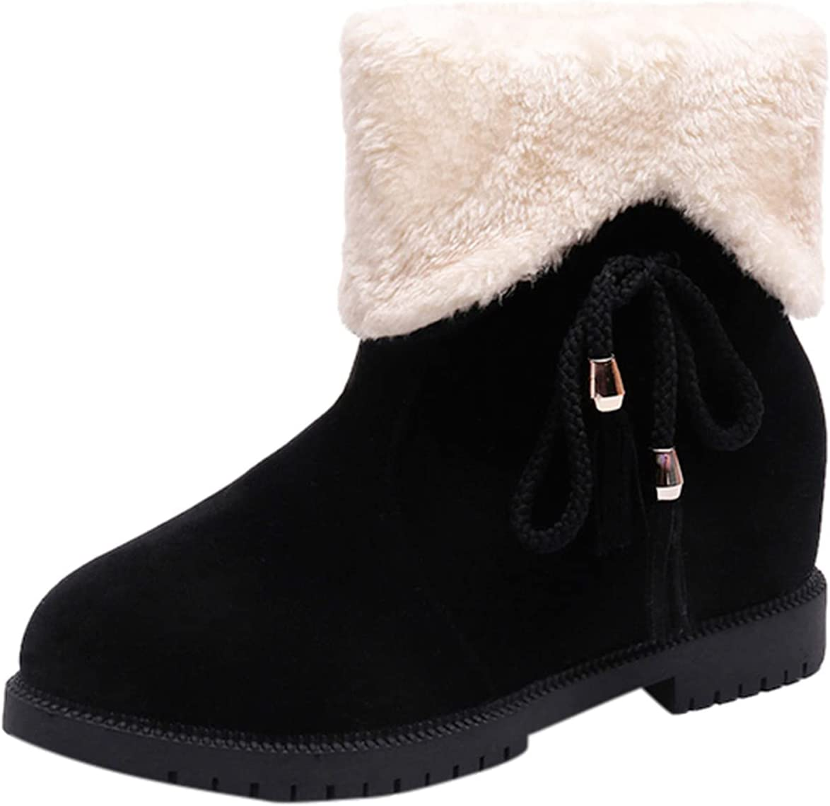 LODDD Women's Winter Warm Ankle Booties Tassel Bow Round Toe Low Heel Snow Boots Fuzzy Flat Short Boots