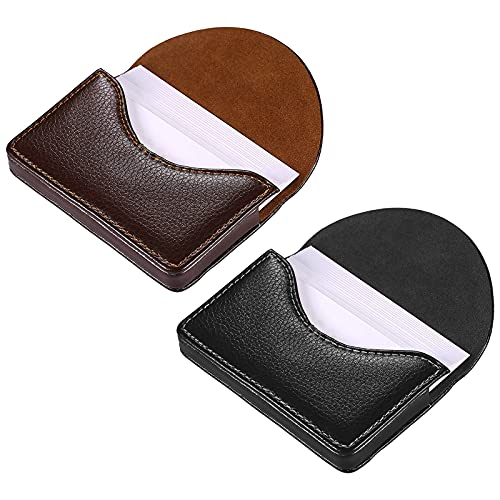 kiniza 2 PCS Leather Business Card Cases, Pocket Cards Wallet Case for Men Women Name Card Case Holder with Magnetic Shut, Holds 25 Business Cards (Black and Coffee)