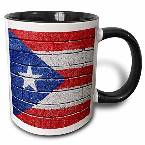 3dRose National Flag Of Puerto Rico Painted Onto A Brick Wall Rican Mug, 11 oz, Black
