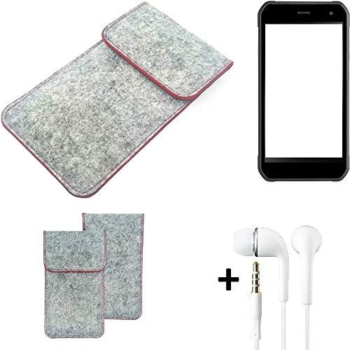 K-S-Trade Handy Schutz Hülle Für Cyrus CS 40 Schutzhülle Handyhülle Filztasche Pouch Tasche Hülle Sleeve Filzhülle Hellgrau Roter Rand + Kopfhörer