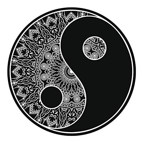 EW Designs Black and White Mandala Flower Pattern Yin Yang Symbol Icon #2 Vinyl Decal Bumper Sticker (4' Wide)