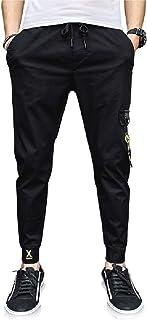CRYYU Men's Elastic Waist Gym Workout Stretch Casual Solid Color Harem Jogger Pants