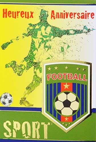 Glückwunschkarte zum Geburtstag, goldfarben, Fußball, Fußball, Fußball, rund, Wappen Trikot, Sterne, Champion Schnitt, hergestellt in Frankreich