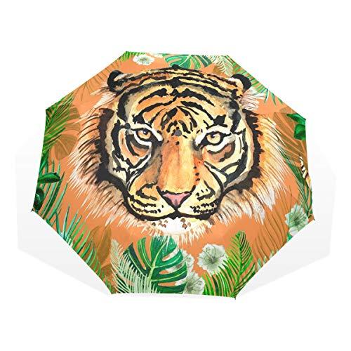 XiangHeFu Paraguas Jungle Tiger 3 Pliegues Ligero Anti-UV