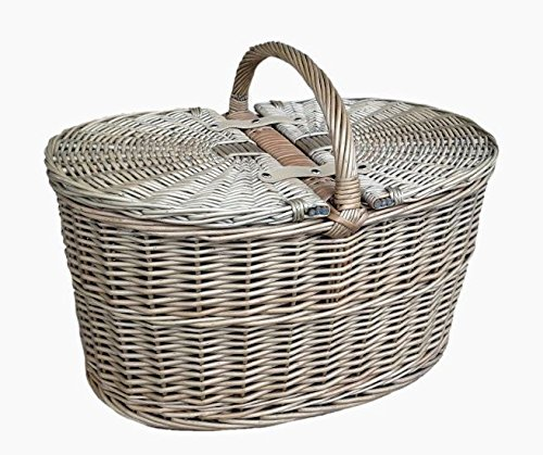 antique wash finish wicker oval