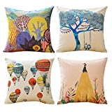 Jbralid Leisure Time Colorful Design Hot Air Balloon Natural Adventure Linen Indoor Decor Throw Pillow Cover Case Set of 4, 16x16 in