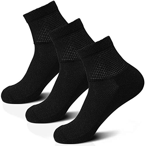 Wide Non-Binding Bamboo Diabetic Circulatory Socks, 3 Pack, for Edema Neuropathy Men and Women