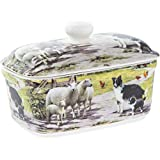 Collie and Sheep Design Fine China Butter Dish