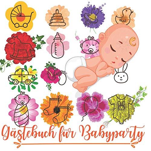 Baby-Dusche-Gästebuch: Nettes Baby mit Windel, Babygeschenken und Blumen Gästebuch-Umschlag + Extra-Abschnitt für Geschenkprotokoll + Gedächtnis- und ... Jungen als auch für Mädchen verwendet werden