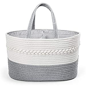 LotFancy Baby Diaper Caddy Organizer, Baby Diaper Storage Basket, Cotton Rope Nursery Storage Bin for Changing Table and Car, Baby Shower Basket for Boys Girls, Includes 5 Baby Bibs