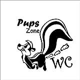 WC Toiletten Wandtattoo 'Pups Zone' von greehome Türaufkleber WC Spruch Dekoration lustig Tür Aufkleber