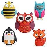 LeiZhan 5pcsX16GB Cute Animals USB Flash Drive Lovely Fox&Bee&Owl&Penguin USB Pen Drive Sets Sticks Gift For Students Kids Children Memoria U Disk